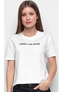 Camiseta Tommy Jeans Modern Linear Logo Tee Feminina - Feminino-Branco