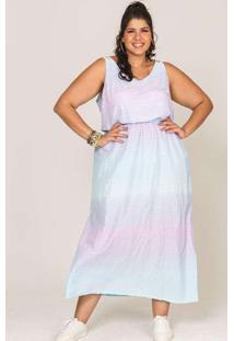 Vestido Almaria Plus Size Lenner Longo Tie Dye Azu