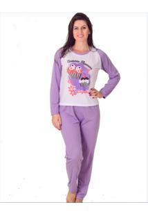 Pijama Feminino Vip Lingerie Inverno Longo Roxo