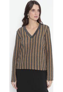 Suéter Em Tricô Listrado Com Brilho - Preto & Amarelo