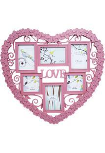 Porta Retrato Minas De Presentes Coração Love 6 Fotos Rosa