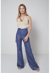 Calça Jeans Oh, Boy! Pantalona Brilho Jeans Feminina - Feminino-Azul