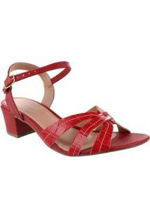 Sandália Salto Alto M Shuz Croco Jambo Red - Feminino-Vermelho