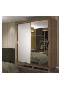 Guarda-Roupa Solteiro Madesa Dallas Plus 2 Portas De Correr Com Espelho 4 Gavetas Com Pés Rustic/Branco