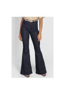 Calça Jeans Lunender Flare Recortes Azul-Marinho