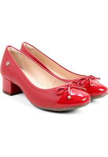 Scarpin Via Uno Laço Verniz Salto Baixo - Feminino-Vermelho