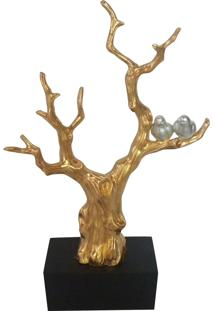 Escultura Cerâmica Tree With Birds Dourada 47X76X16Cm
