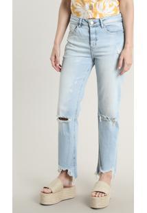 Calça Jeans Feminina Reta Destroyed Azul Claro