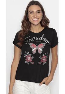 "Blusa ""Freedom"" Com Borboletas- Preta & Cinza- Cavalcavalari"