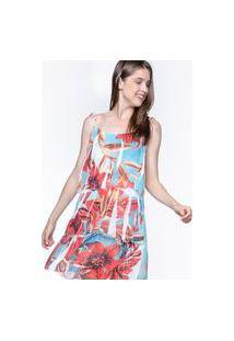 Vestido 101 Resort Wear Curto Crepe Evasê Com Babados Estampado Flores Vermelho