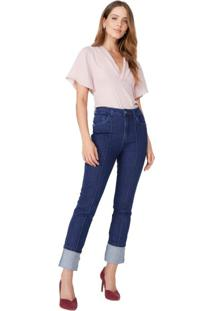 Calça Jeans Skinny Nervura E Barra Dobrada