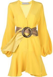 Silvia Tcherassi Vestido De Seda Com Cinto Oversized - Amarelo