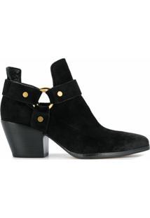 Michael Michael Kors Ankle Boot De Couro Com Fivela - Preto