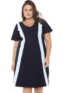5f343401eda8 ... Vestido Lunender Mais Mulher Plus Curto Canelado Azul-Marinho