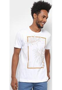 Camiseta Manga Curta Forum Estampada Folhagens Masculina - Masculino-Branco
