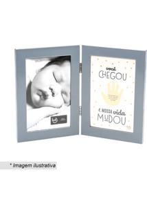 Porta Retrato Bebê Você Chegou- Cinza Claro & Brancoludi