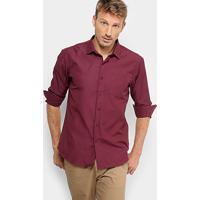 5596a6ae60 Camisa Social Broken Rules Com Bolso E Mini Print Masculina - Masculino- Vinho