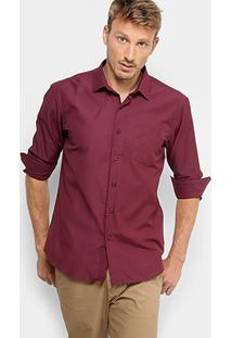 Camisa Social Broken Rules Com Bolso E Mini Print Masculina - Masculino-Vinho