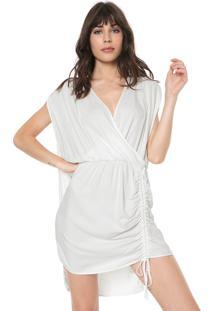 Vestido Triton Curto Franzido Branco