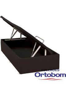 Box Solteiro Com Baú - Corino Marrom - Ortobom