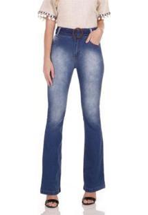 Calça Jeans Areazul Bootcut Feminina - Feminino-Azul