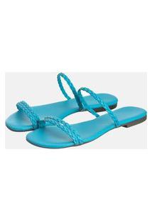 Sandália Rasteira Feminina Bico Quadrado Azul