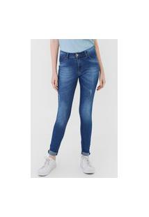Calça Jeans Grifle Company Skinny Destroyed Azul