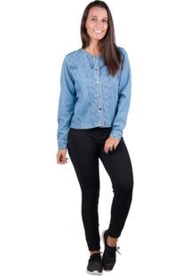 Jaqueta Banna Hanna Detalhe Pesponto Jeans - Feminino-Azul Claro
