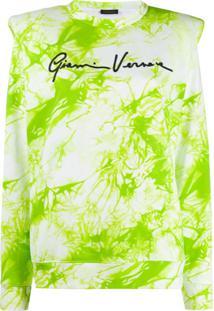 Versace Suéter Tie-Dye Com Logo - Branco