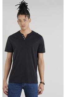 Camiseta Masculina Básica C2C Manga Curta Com Botões Preta