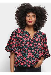 Blusa Top Moda Floral Babado Feminina - Feminino-Preto+Vermelho