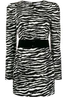 P.A.R.O.S.H. Vestido De Festa Com Estampa De Zebra - Branco