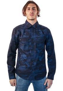 Camisa Jeans Malhas Carlan Camuflada Masculina - Masculino-Azul