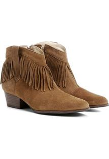 Bota Couro Country Shoestock Franja Feminina - Feminino-Marrom