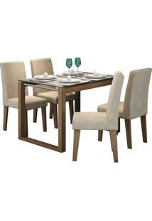 Conjunto Mesa De Jantar Anita 1,20M Com 4 Cadeiras Milena Savana Tecido Sued Bege Cimol