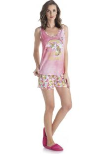 Pijama Unicórnio Adulto Regata Praia De Coral/P
