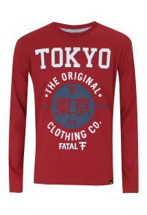 Camiseta Manga Longa Fatal Estampada 18183 - Masculina - Vermelho