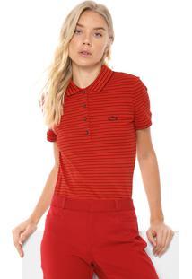 Camisa Polo Lacoste Slim Listrada Vermelha/Preta