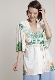 Kimono Feminino Estampado De Folhagem Com Faixa Para Amarrar Off White