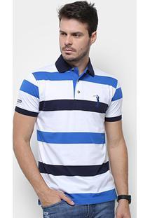 Camisa Polo Aleatory Listrada Fio Tinto Masculina - Masculino-Azul+Marinho