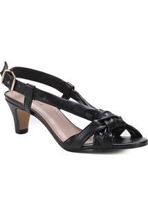 Sandália Shoestock Tiras Comfy Salto Baixo Feminina - Feminino-Preto