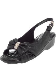 Sandália Comfortflex Laço Preta
