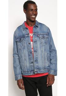 Jaqueta Jeans Com Recortes- Azul & Vermelhalevis