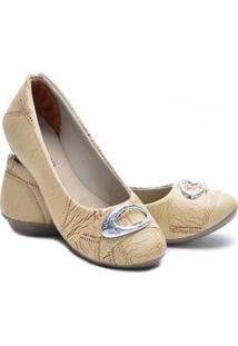 Sapatilha Ded Calçados Bico Redondo Feminina - Feminino-Bege