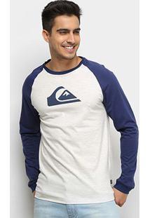 Camiseta Quiksilver Raglan Logo Manga Longa Masculina - Masculino