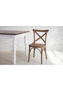 Cadeira De Madeira X Tipo Restaurante Torneada Encosto E Assento Anatômico Nogueira Madeleine - 50X54,5X86 Cm