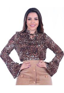 Blusa Miss Lady Viscose Oncinha