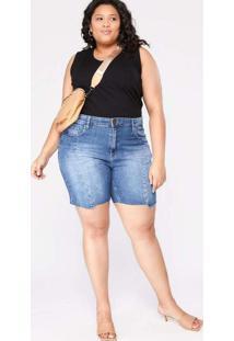 Bermuda Almaria Plus Size Blubetty Jeans Azul