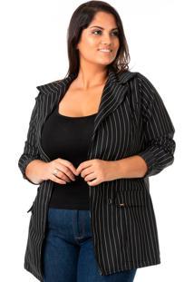 Blazer Feminino Alongado Risca De Giz Plus Size - Confidencial Extra - Kanui