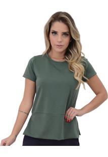 Blusa Mamorena Malha Com Recorte E Abertura Verde